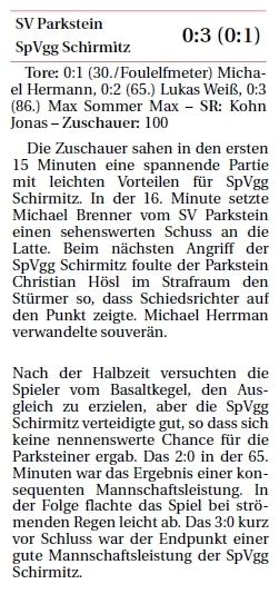 Verfolger Schirmitz gewinnt 3:0 in Parkstein